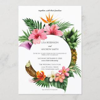 Circular Tropical Hawaiian Floral Coconut Wedding Invitation