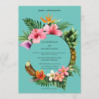 Circular Tropical Hawaiian Floral Wedding- Blue Invitations
