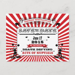 Circus Steampunk Wedding Save The Date Red Announcement Postcard