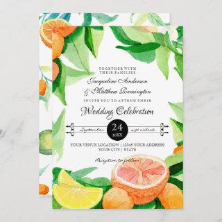 Citrus Kumquat Lemons Orange Typography Leaf Art Invitation