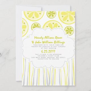 Citrus Stripes Wedding Invitations