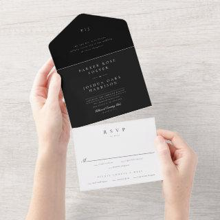 Classic Black and White All in One Wedding Invite