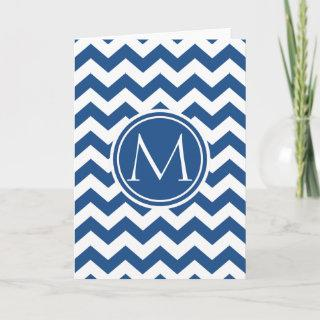 Classic Blue Chevron Monogrammed Note Card