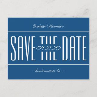 Classic blue retro typography wedding save date announcement postcard