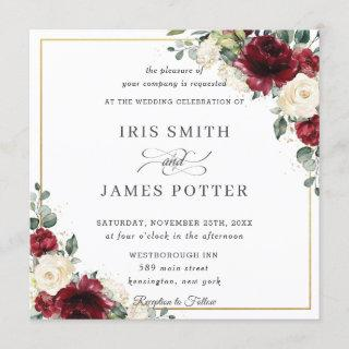 Classic Burgundy Ivory Floral Gold Wedding Square Invitation