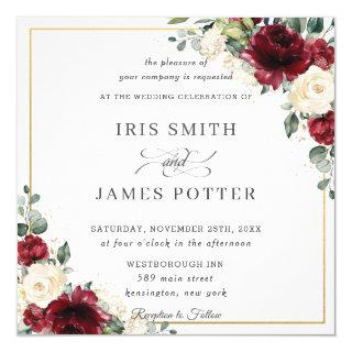 Classic Burgundy Ivory Floral Gold Wedding Square Invitations
