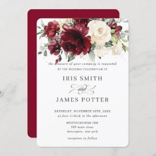 Classic Burgundy Ivory Floral Wedding Invitations