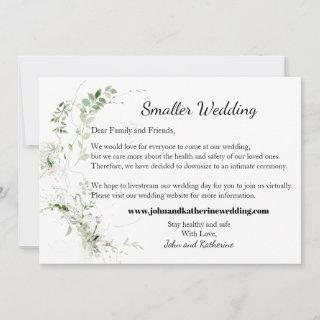 Classic Elegant Green Leaves Smaller Wedding Announcement