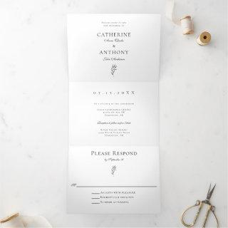 Classic Elegant Minimalist Botanical Leaf Simple Tri-Fold Invitations