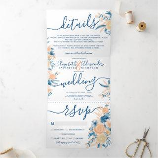 Classic floral watercolor blue peach wedding Tri-Fold Invitations