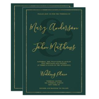 Classic forest green chic gold foil border wedding invitation