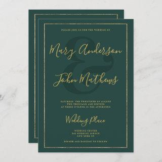 Classic forest green chic gold foil border wedding Invitations