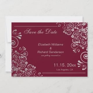 Classic Marsala Silver Save the Date  Wedding