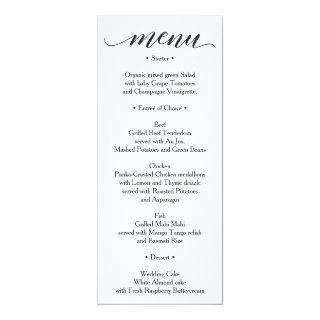 Classic Menu - Wedding Menu or Bridal Shower Menu Invitations
