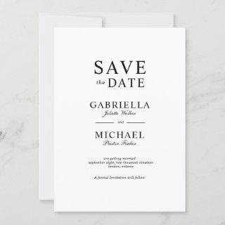Classic Minimalist Flat Save The Date Card