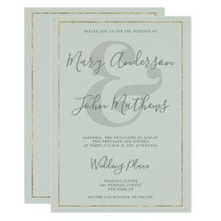 Classic mint green ampersand gold border wedding invitation