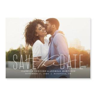 Classic save the date horizontal photo magnet