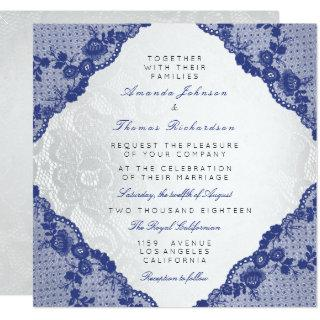 Classic Silver White Blue Navy Lace Wedding Invitations