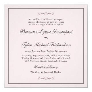 Classic Simple Elegance Blush Pink Square Wedding Invitations
