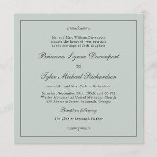 Classic Simple Elegance Sage Green Square Wedding Invitations