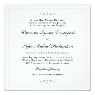 Classic Simple Elegance Square Wedding Invitation