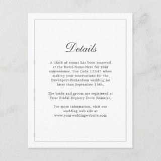 Classic Simple Elegance Wedding Info - Details Enclosure Card