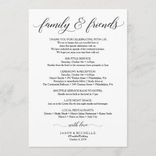 Classic Wedding Itinerary - Wedding Welcome Family Invitations