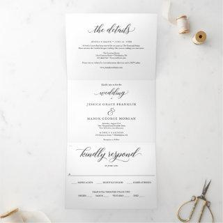 Classic Wedding Tri-Fold Invitations