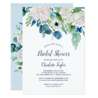 Classic White Flowers Bridal Shower Invitations