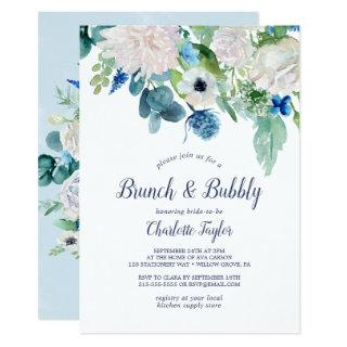 Classic White Flowers Brunch and Bubbly Invitation