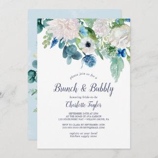 Classic White Flowers Brunch and Bubbly Invitations