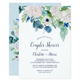 Classic White Flowers Couples Shower Invitation