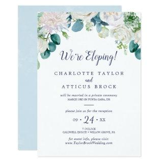 Classic White Flowers Elopement Reception Invitation