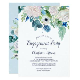 Classic White Flowers Engagement Party Invitations