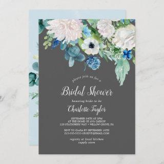Classic White Flowers | Grey Bridal Shower Invitation