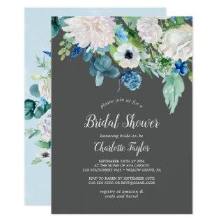 Classic White Flowers | Grey Bridal Shower Invitations