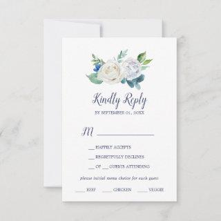 Classic White Flowers Menu Choice RSVP Card