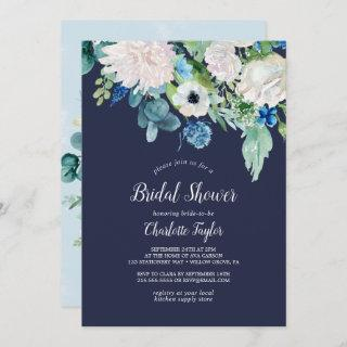 Classic White Flowers | Navy Bridal Shower Invitations