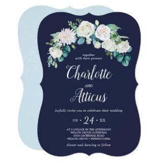 Classic White Flowers Navy Elegant Casual Wedding Invitation