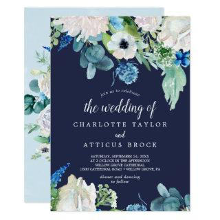 Classic White Flowers | Navy The Wedding Of Invitation
