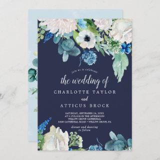 Classic White Flowers | Navy The Wedding Of Invitations
