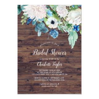 Classic White Flowers | Rustic Bridal Shower Invitations