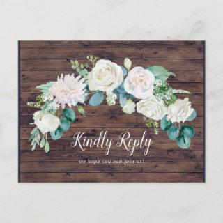 Classic White Flowers | Rustic Song Request RSVP Invitations Postcard