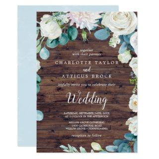 Classic White Flowers | Rustic Wedding Invitation