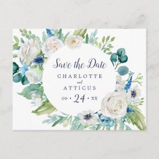 Classic White Flowers Save the Date Postcard