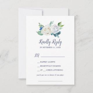 Classic White Flowers Song Request RSVP Card