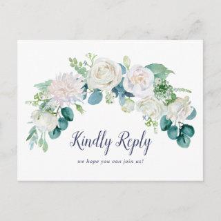 Classic White Flowers Song Request RSVP Postcard