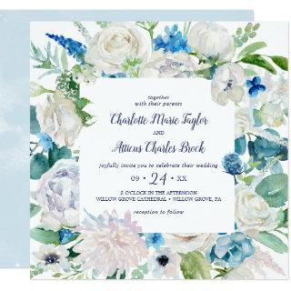 Classic White Flowers Square Wedding Invitation