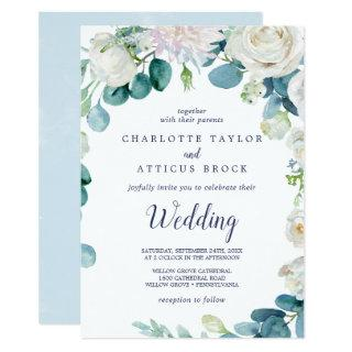Classic White Flowers Wedding Invitations