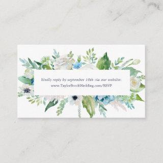 Classic White Flowers Wedding Website RSVP Enclosure Card